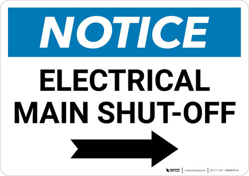 Notice: Electrical Main Shut-Off Landscape with Right Arrow