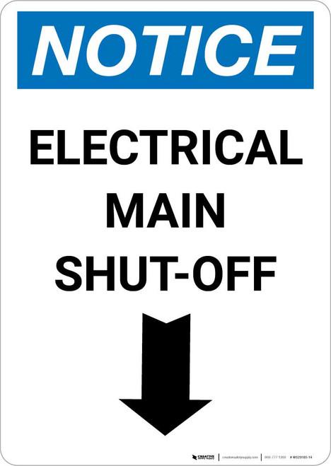 Notice: Electrical Main Shut-Off Portrait Down Arrow