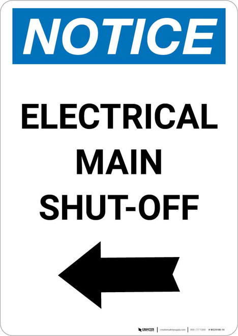 Notice: Electrical Main Shut-Off Portrait Left Arrow