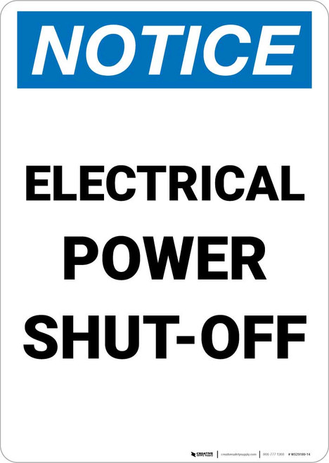 Notice: Electrical Power Shut-Off Portrait