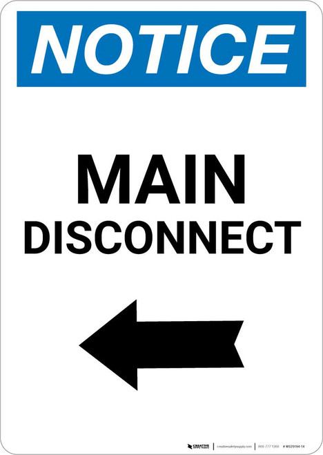 Notice: Main Disconnect Portrait with Left Arrow