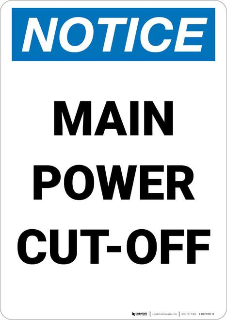Notice: Main Power Cut-Off Portrait