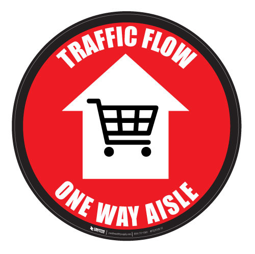 Traffic Flow - One Way Aisle - Red - Floor Sign