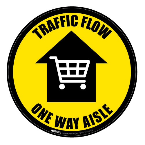Traffic Flow - One Way Aisle - Yellow - Floor Sign