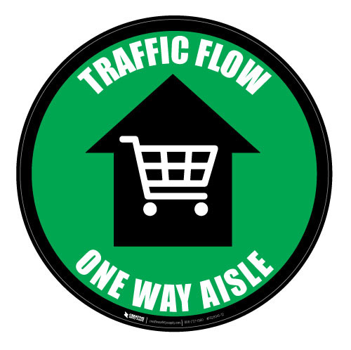 Traffic Flow - One Way Aisle - Green - Floor Sign