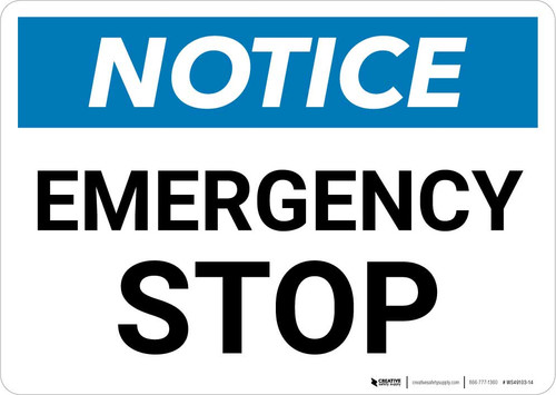 Notice: Emergency Stop Button with Icon Landscape