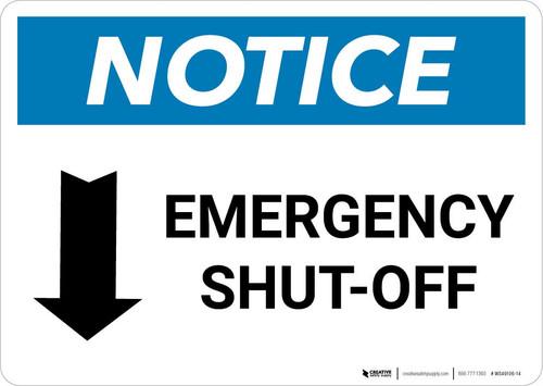 Notice: Emergency Shut-off with Down Arrow Landscape