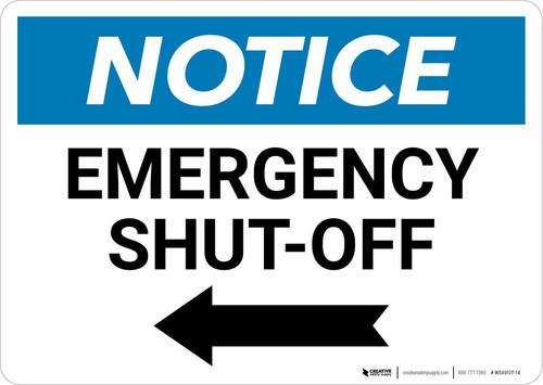 Notice: Emergency Shut-off with Left Arrow Landscape