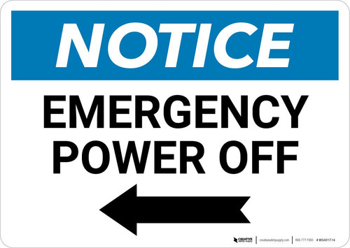 Notice: Emergency Power Off with Left Arrow Landscape