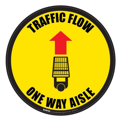 Traffic Flow - Overhead-Aisle - Yellow - Floor Sign