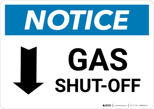 Notice: Gas Shut-Off with Down Arrow Landscape