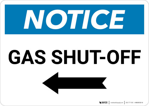 Notice: Gas Shut-Off with Left Arrow Landscape