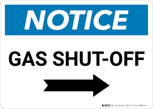 Notice: Gas Shut-Off with Right Arrow Landscape