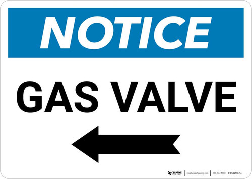 Notice: Gas Valve with Left Arrow Landscape