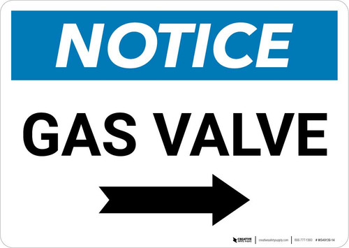 Notice: Gas Valve with Right Arrow Landscape