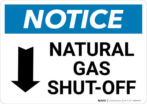 Notice: Natural Gas Shut-Off with Down Arrow Landscape