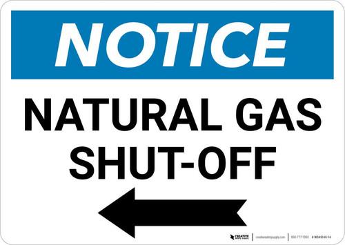 Notice: Natural Gas Shut-Off with Left Arrow Landscape