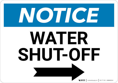 Notice: Water Shut-Off with Right Arrow Landscape