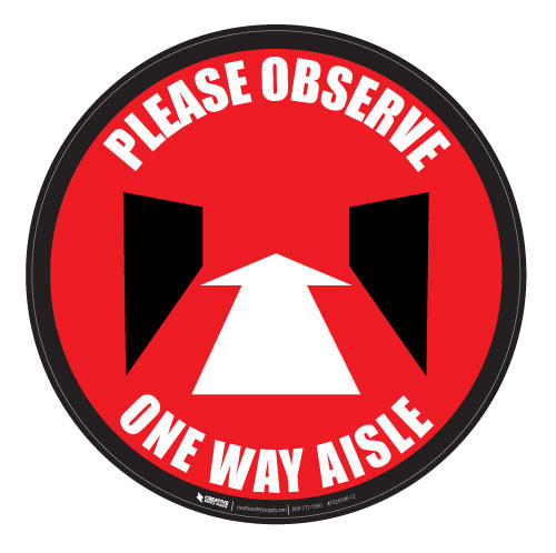 Please Observe - Perspective-Aisle - Red - Floor Sign
