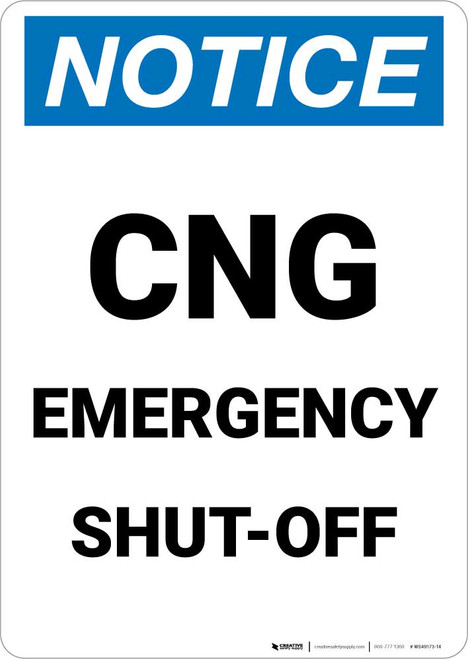 Notice: CNG (Compressed Natural Gas) Emergency Shut Off Portrait