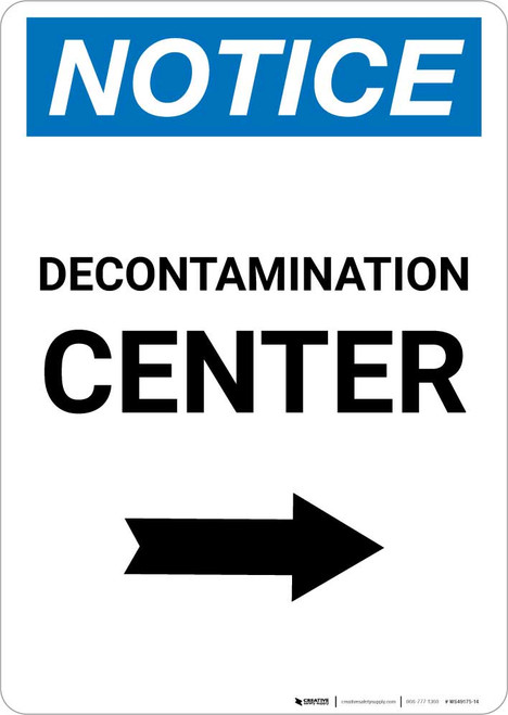 Notice: Decontamination Center with Right Arrow Portrait