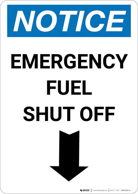 Notice: Emergency Fuel Shut Off with Down Arrow Portrait