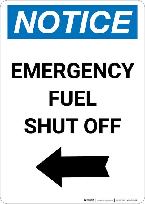 Notice: Emergency Fuel Shut Off with Left Arrow Portrait