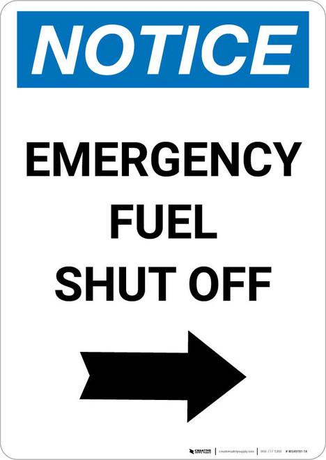 Notice: Emergency Fuel Shut Off with Right Arrow Portrait