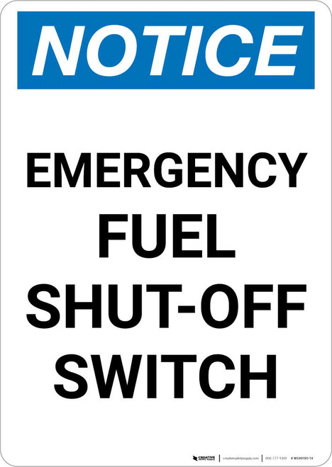 Notice: Emergency Fuel Shut Off Switch Portrait