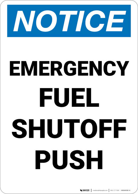 Notice: Emergency Fuel Shutoff Push Portrait