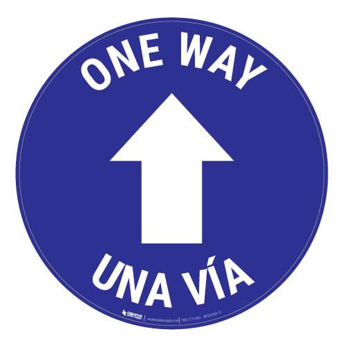 One Way - Arrow - Blue - Bilingual - Floor Sign