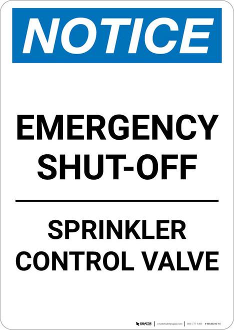 Notice: Emergency Shut-Off - Sprinkler Control Valve Portrait