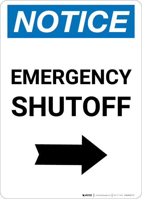 Notice: Emergency Shutoff with Right Arrow Portrait