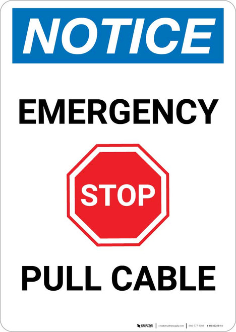 Notice: Emergency Pull Cable with Stop Icon Portrait