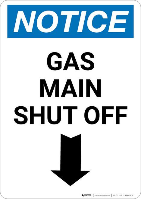 Notice: Gas Main Shut Off with Down Arrow Portrait