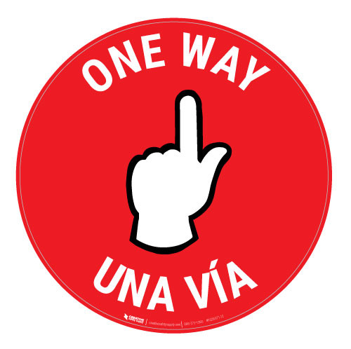One Way - Pointing Hand - Red - Bilingual - Floor Sign