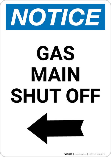 Notice: Gas Main Shut Off with Left Arrow Portrait