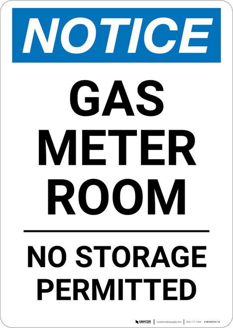 Notice: Gas Meter Room No Storage Permitted Portrait