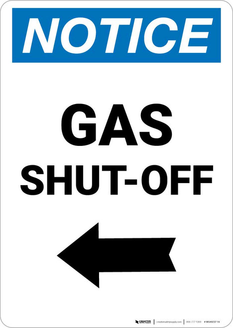 Notice: Gas Shut-Off with Left Arrow Portrait