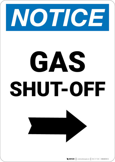 Notice: Gas Shut-Off with Right Arrow Portrait