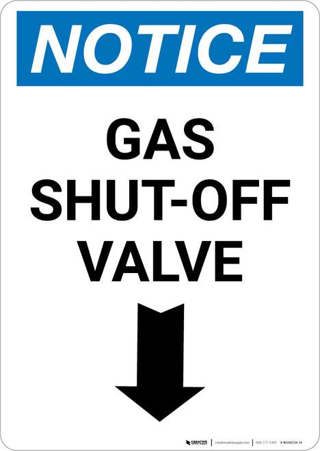 Notice: Gas Shut-Off Valve with Down Arrow Portrait