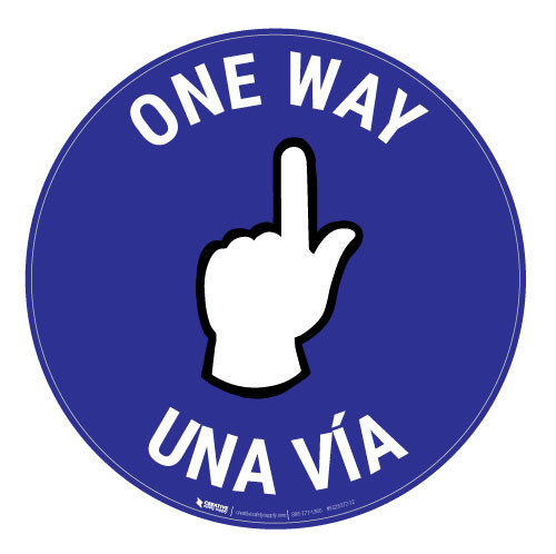 One Way - Pointing Hand - Blue - Bilingual - Floor Sign