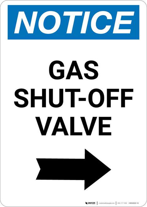Notice: Gas Shut-Off Valve with Right Arrow Portrait