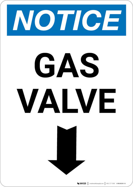 Notice: Gas Valve with Down Arrow Portrait