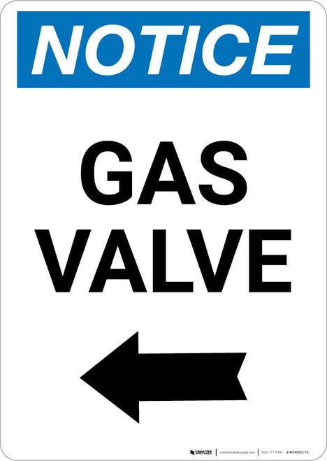 Notice: Gas Valve with Left Arrow Portrait