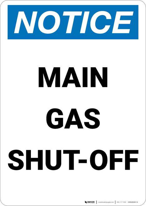 Notice: Main Gas Shut-Off Portrait
