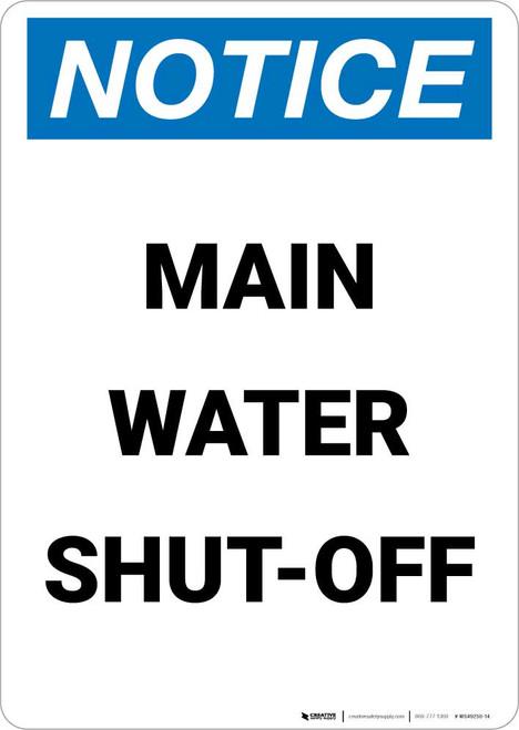 Notice: Main Water Shut-Off Portrait