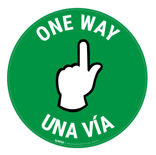 One Way - Pointing Hand - Green - Bilingual - Floor Sign