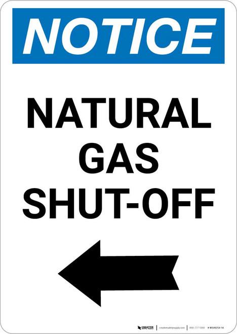 Notice: Natural Gas Shut-Off with Left Arrow Portrait