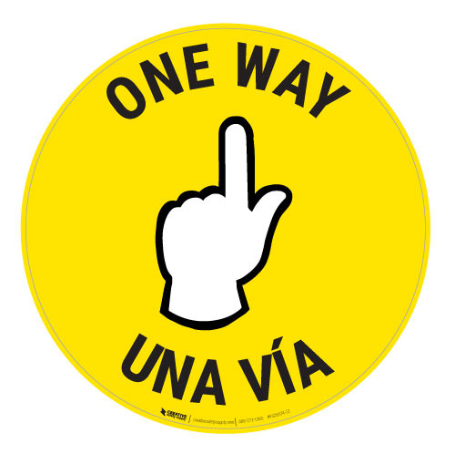 One Way - Pointing Hand - Yellow - Bilingual - Floor Sign